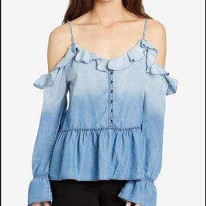 William Rast Wolfe Ruffled Cold Shoulder Top